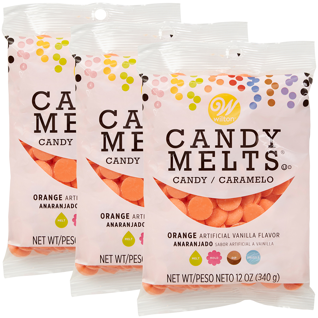 Wilton Orange Candy Melts Candy, 12 oz., Pack of 3