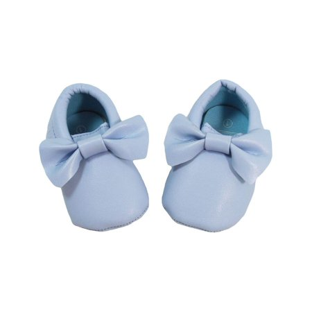 8683f02e817 Baby Girls Light Blue Bow Faux Leather Moccasin Soft Sole Crib Shoes ...