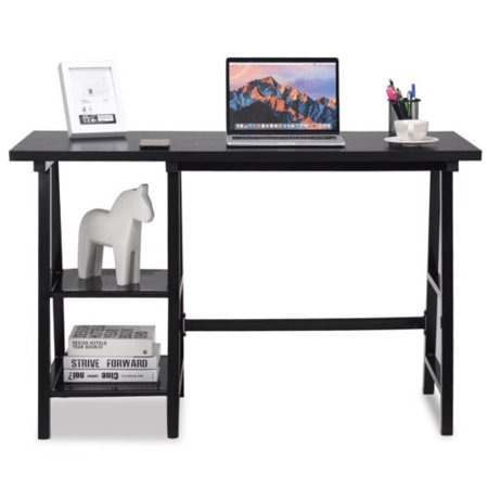 Modern Trestle Computer Desk Writing Laptop Table Open Tiers Shelves Black - image 10 de 10