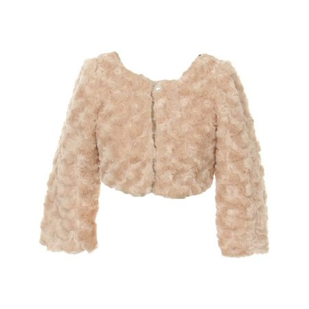 Kids Dream Little Girls Taupe Faux Fur Long Sleeve Pearl Bolero Jacket 4
