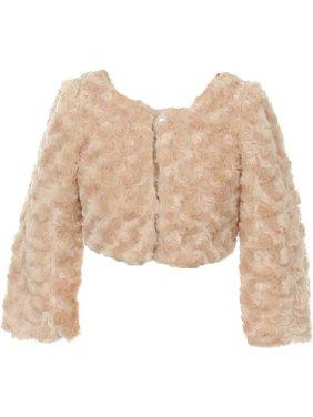 Little Girls Taupe Faux Fur Long Sleeve Pearl Bolero Jacket 4