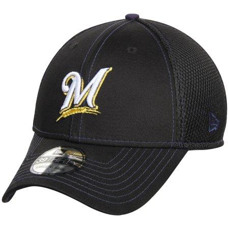 eb9aabba Milwaukee Brewers New Era Crux Line Neo 39THIRTY Flex Hat - Black ...