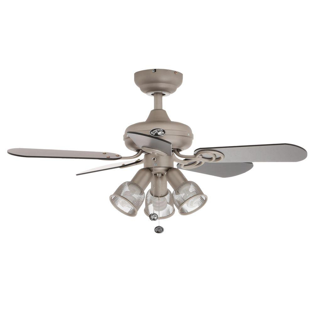 Hampton Bay San Marino 36 in. LED Indoor Brushed Steel Ceiling Fan ...