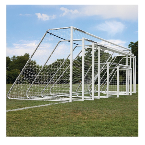 Soccer Goals by AluMagoal, Natural Aluminum Pair of 6.5' x 18.5' by