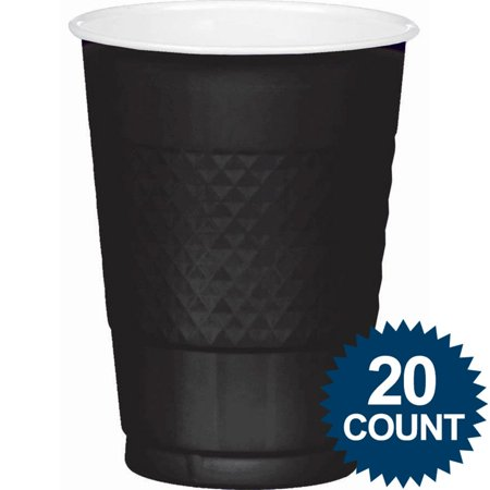 Black 16oz. Plastic Cups (20 Pack) - Party Supplies - Halloween Party Cups Uk