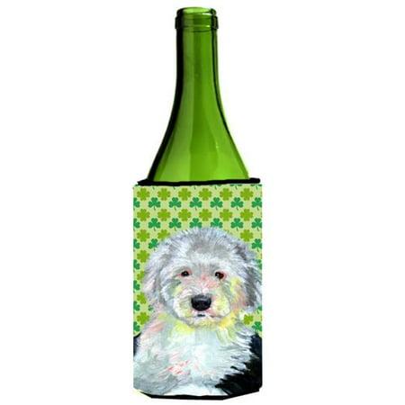 Old English Sheepdog St. Patricks Day Shamrock Wine bottle sleeve Hugger 24 oz. - image 1 de 1