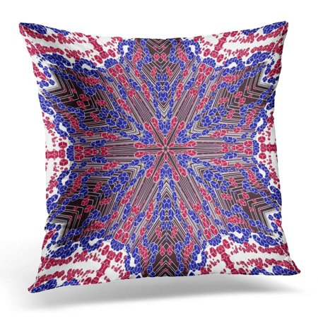 CMFUN Abstract Colored Symmetrical with Cubes and Lines on White Fantasy Six Pointed with Straight Burgundy Pillow Case Pillow Cover 20x20 (Fantasy Cubes)
