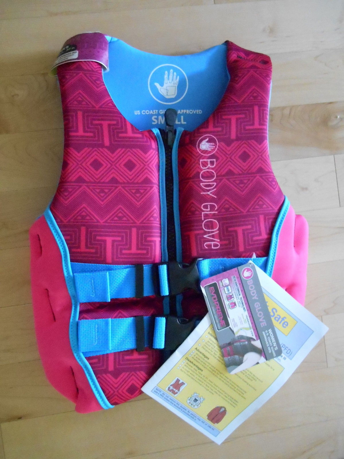Body Glove Womens (Small) Pink Blue Evoprene PFD Life Vest by