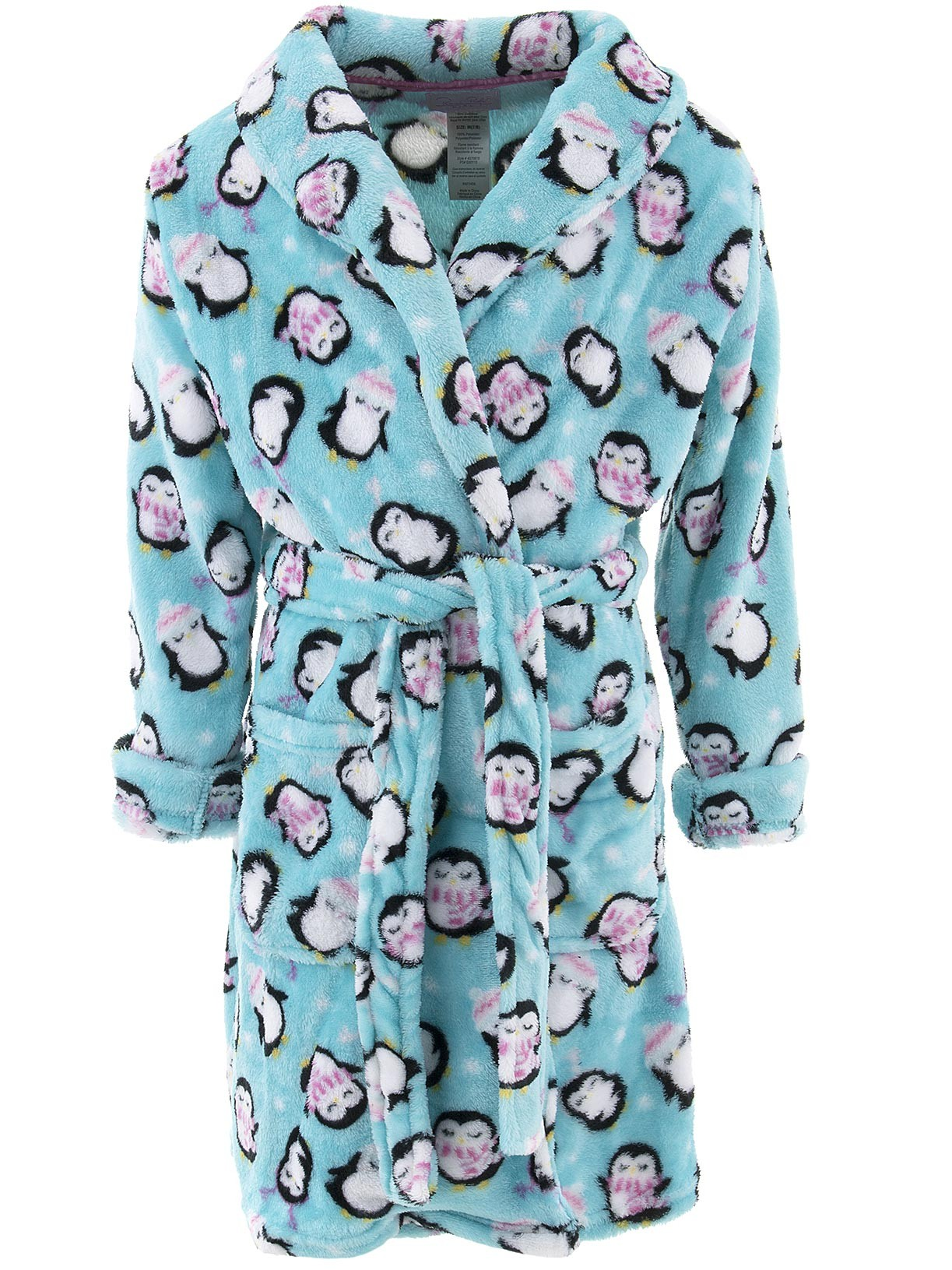 Rene Rofe Girls Penguins Blue Fleece Bathrobe