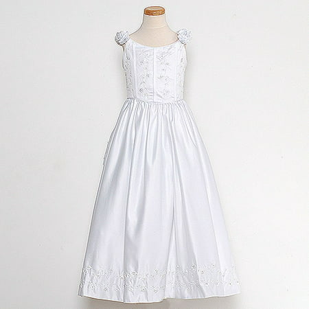 Rain Kids White Bridal Satin Adjustable Corset Dress Little Girl - Biker Girl Corset