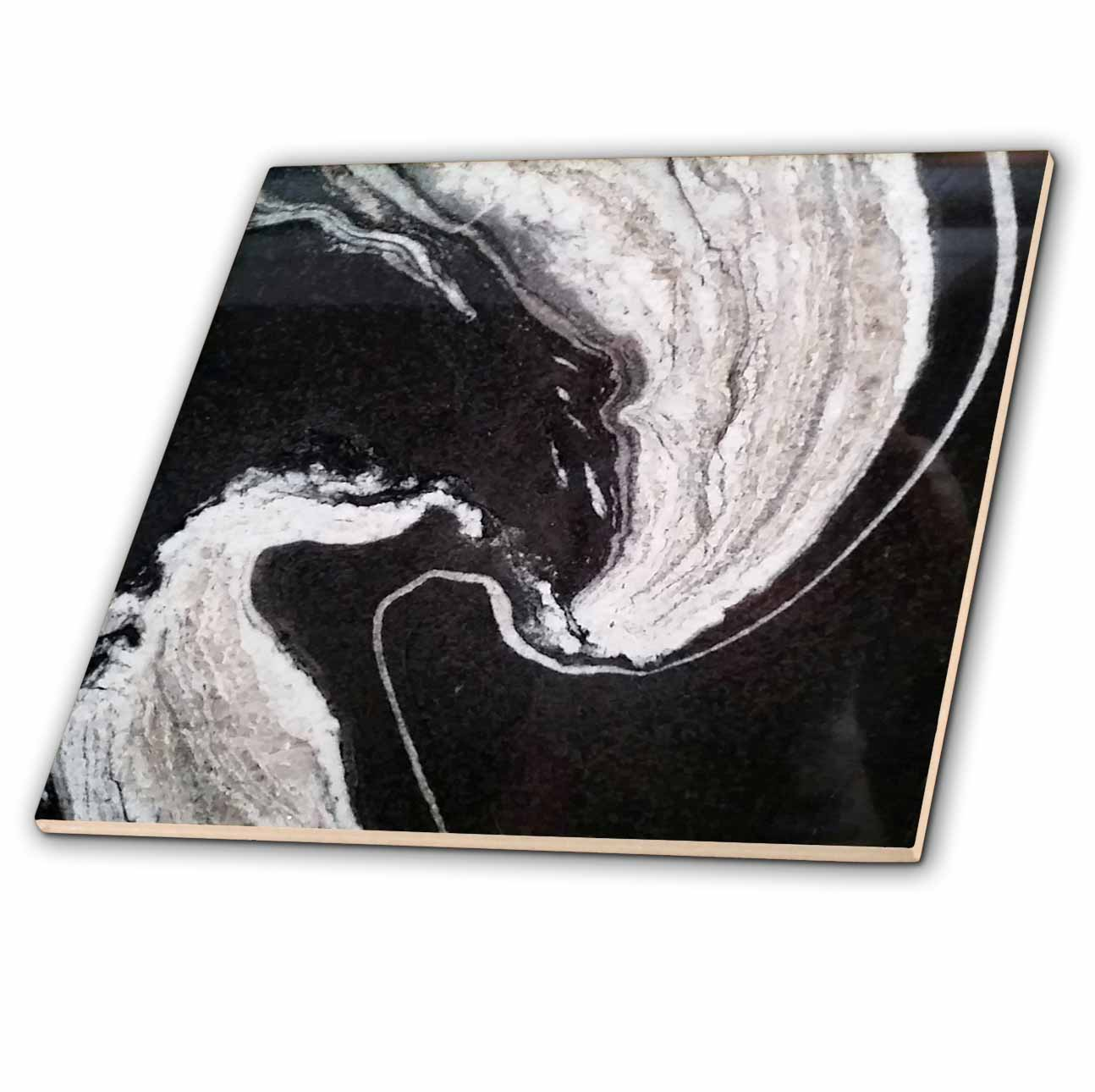 3dRose Image of Dramatic Black And White Swirly Granite - Ceramic Tile, 4-inch