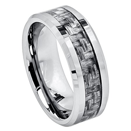 8mm Tungsten Carbide Beveled Edge Charcoal Gray Carbon Fiber Inlay High Wedding Band Ring For Men Or Ladies Edge 8mm Tungsten Carbide Ring