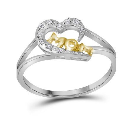 Sterling Silver Diamond Mom Mothers Heart 2-tone Ring Dainty Small 1/20