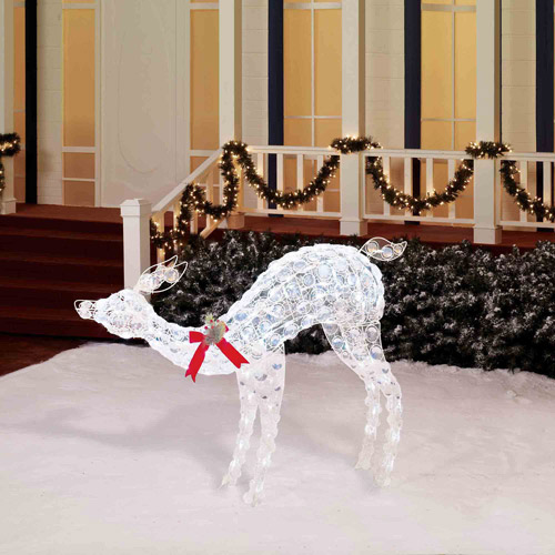 """Holiday Time 46"""" Tall Lighted Doe Sculpture, White"""