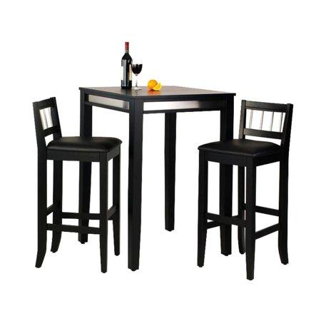 Manhattan Black Pub Table and Two Stools ()