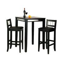 Manhattan Black Pub Table and Two Stools