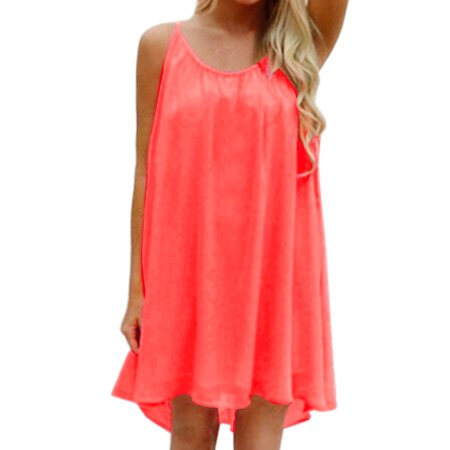 Unique Bargains Women's Spaghetti Straps Cut Out Back Paneled Loose Fit Chiffon Dress Pink