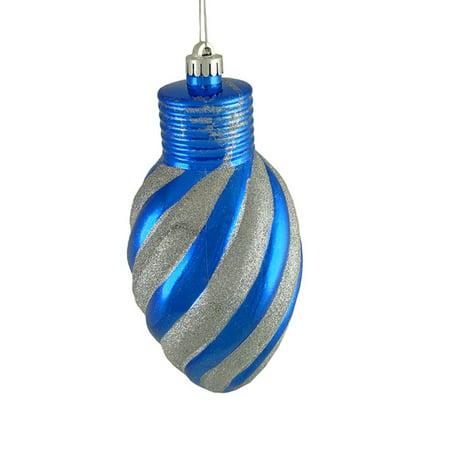 Blue and Silver Glitter Stripe Shatterproof Light Bulb Christmas Ornament - Light Blue Christmas Ornaments