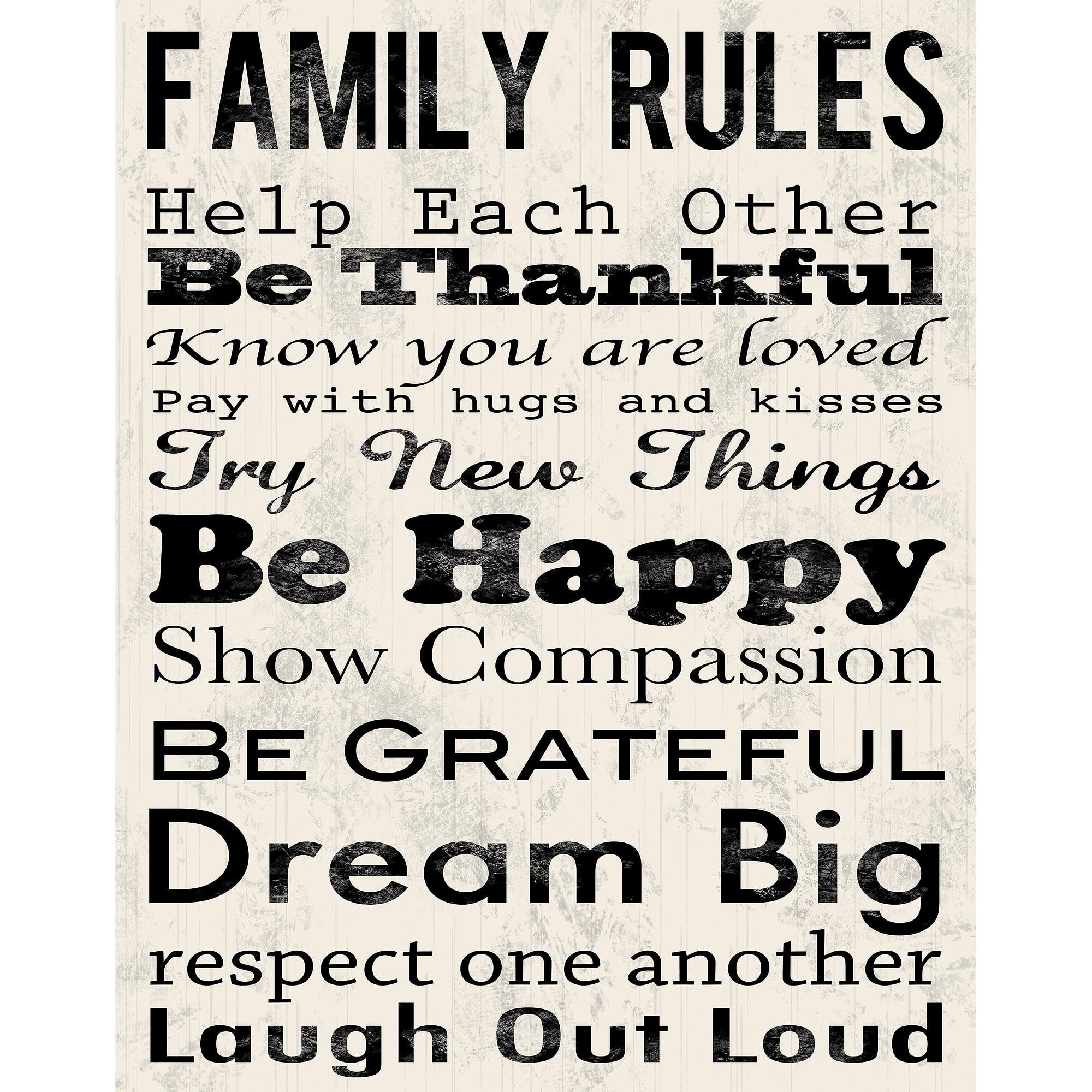 Family rules b canvas wall art 15 x 19 walmart com