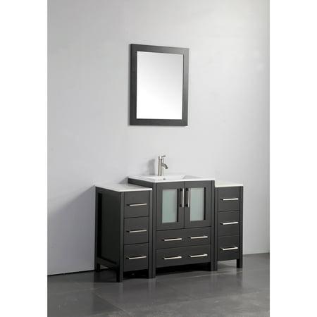 Vanity Art 48 inch single sink bathroom vanity set with ceramic vanity top. (Bathroom Vanity 48 Inch With Top)