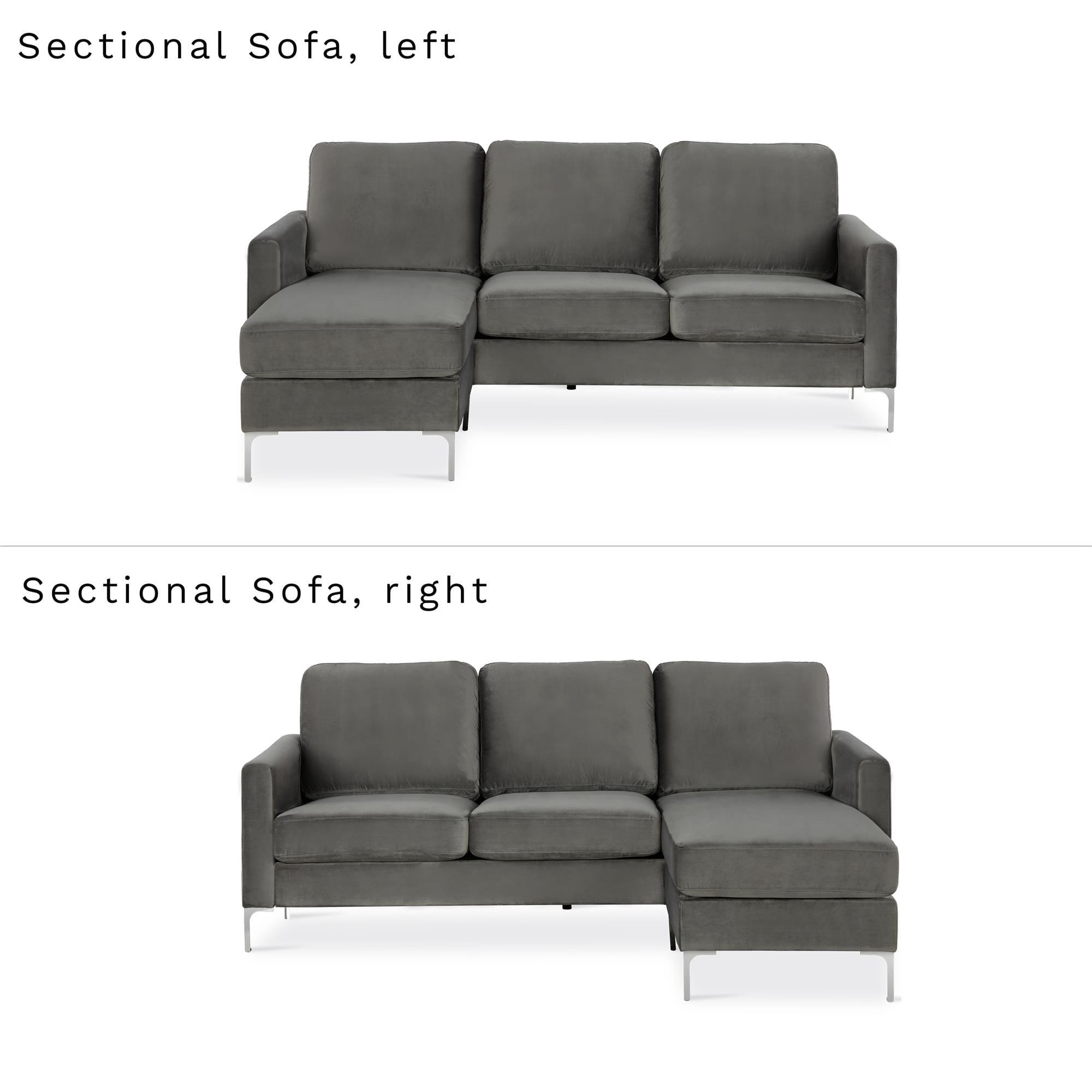 Admirable Novogratz Chapman Sectional Sofa With Chrome Legs Gray Creativecarmelina Interior Chair Design Creativecarmelinacom