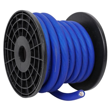 Rockville R0G20BLUE 0 Gauge 20 Foot Spool Blue Car Amp Power+Ground Wire Cable
