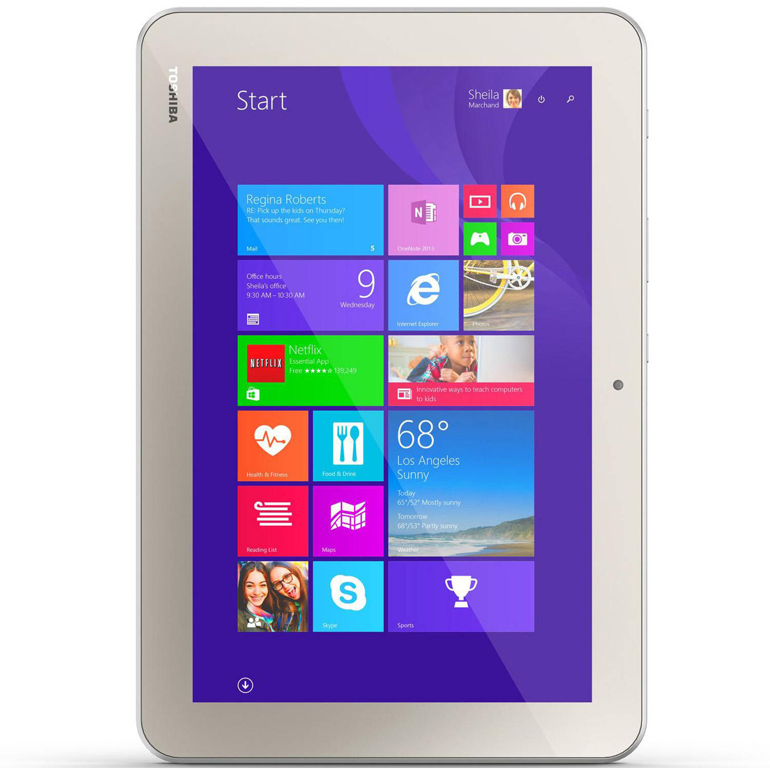 "Refurbished Toshiba Encore 2 WT10-A32 with WiFi 10"" Touchscreen Tablet PC Featuring Windows 8.1 Operating System, Matte Satin Gold"