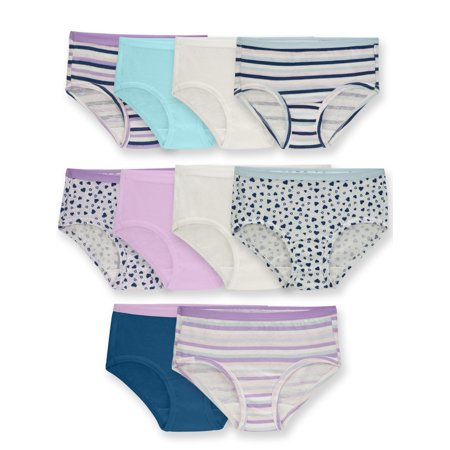 Fruit of the Loom Underwear Assorted Classic Cotton Brief Panties, 10 Pack (Little Girls & Big Girls)