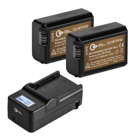 Green Extreme 2 Pack Np Fw50 Battery And Compact Smart Charger Kit 7 4v 1030mah
