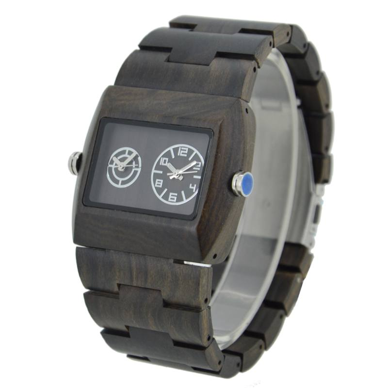 Bewell Rectangle Wood Watch Made With Black Sandalwood