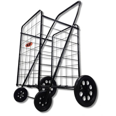 Whitmor Rolling Utility Cart - Extra Large Heavy Duty Black Utility Cart Fold Up Rolling Storage Shopping Carrier with Bonus Liner