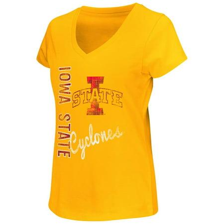 Womens NCAA Iowa State Cyclones Short Sleeve V-Neck Tee Shirt (Team Color)