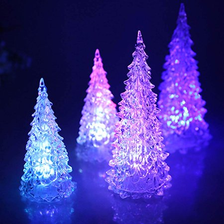 Fordawn 4pcs LED Light Up Christmas Tree Mini Xmas Night Light Christmas Ornaments Decoration - image 6 of 8
