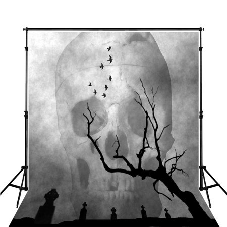 HelloDecor Polyster Grey Photography Backdrop 5x7ft Halloween Large White Skull Black Wood Tree with Tombstone Photo Backgrounds](Large Halloween Desktop Backgrounds)