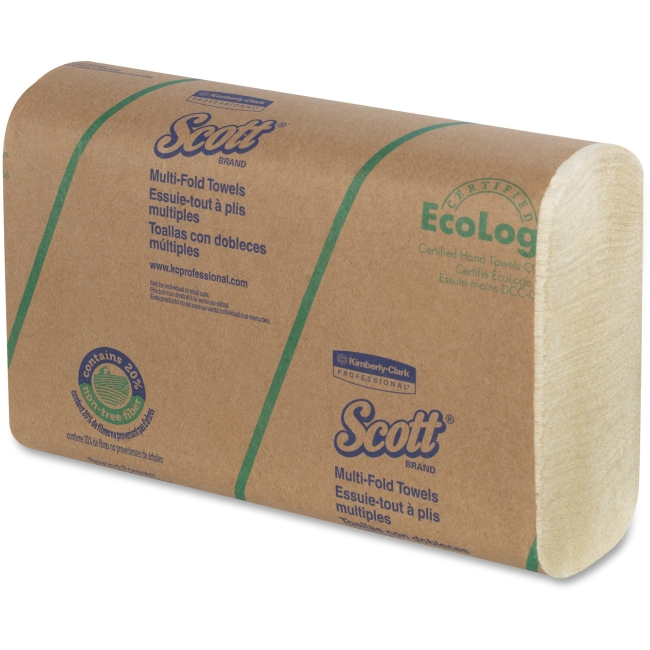 "Scott Multi-fold Towels - 9.20"" x 9.40"" - Soft Wheat - Fiber - Multi-fold, Eco-friendly - 4000 / Carton"