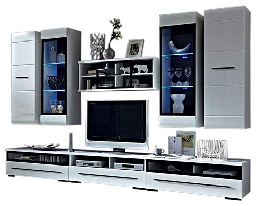 Barcelona Ii Wall Unit Modern Entertainment Center Tv Stand With Led