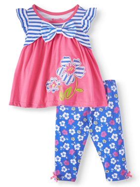 ece59a85b Product Image Short Sleeve Stripe Flowers Top & Capri Leggings, 2pc Outfit  Set (Toddler Girls). Product TitleNannetteShort ...
