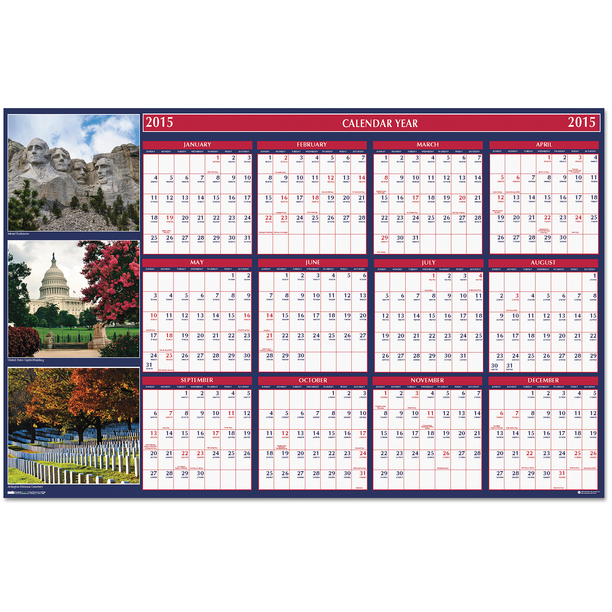 "House of Doolittle Us Monuments Reversible/erasable Yearly Wall Calendar, 24"" X 37"", 2016"