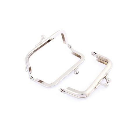 "Arch Shape Kiss Lock Handbag Purse Frame Silver Tone 3"" Length 2Pcs"