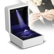 TSV Diamond Ring Box White LED Light Velvet Jewelry Gift Wedding Proposal Engagement