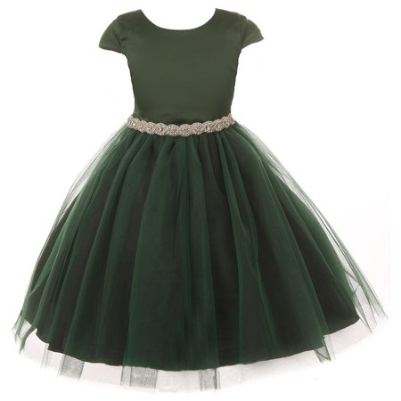 Little Girls Dress Satin Rhinestones Tulle Christmas Holiday Flower Girl Dress Green 2 (K45D2) - Girls Green Dresses