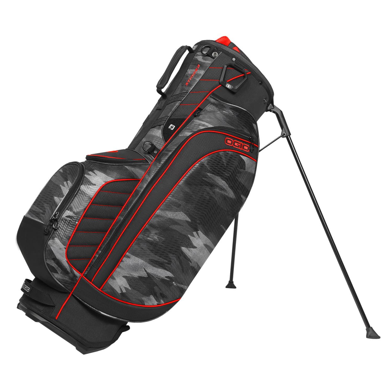 "OGIO Stinger 9.5"" WoodeLite 8 Way Top 6 Pockets Golf Stand Bag, Urban Camo/Red"