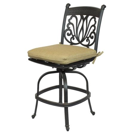 Comfort Care CC01B-SL Cast Aluminum Armless Designer Outdoor Barstool with Sunbrella Sesame Linen Cushion - 50.4 x 20.9 x 26.6 in. - Set of 2 ()