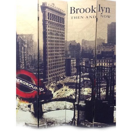 Ore International Inc. 4-Panel Brooklyn Then and Now City Room Divider