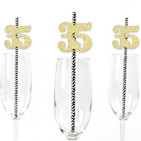 Gold Glitter 35 Party Straws - No-Mess Real Gold Glitter Cut-Out Numbers & Decorative 35th Birthday Paper Straws - 24 Ct