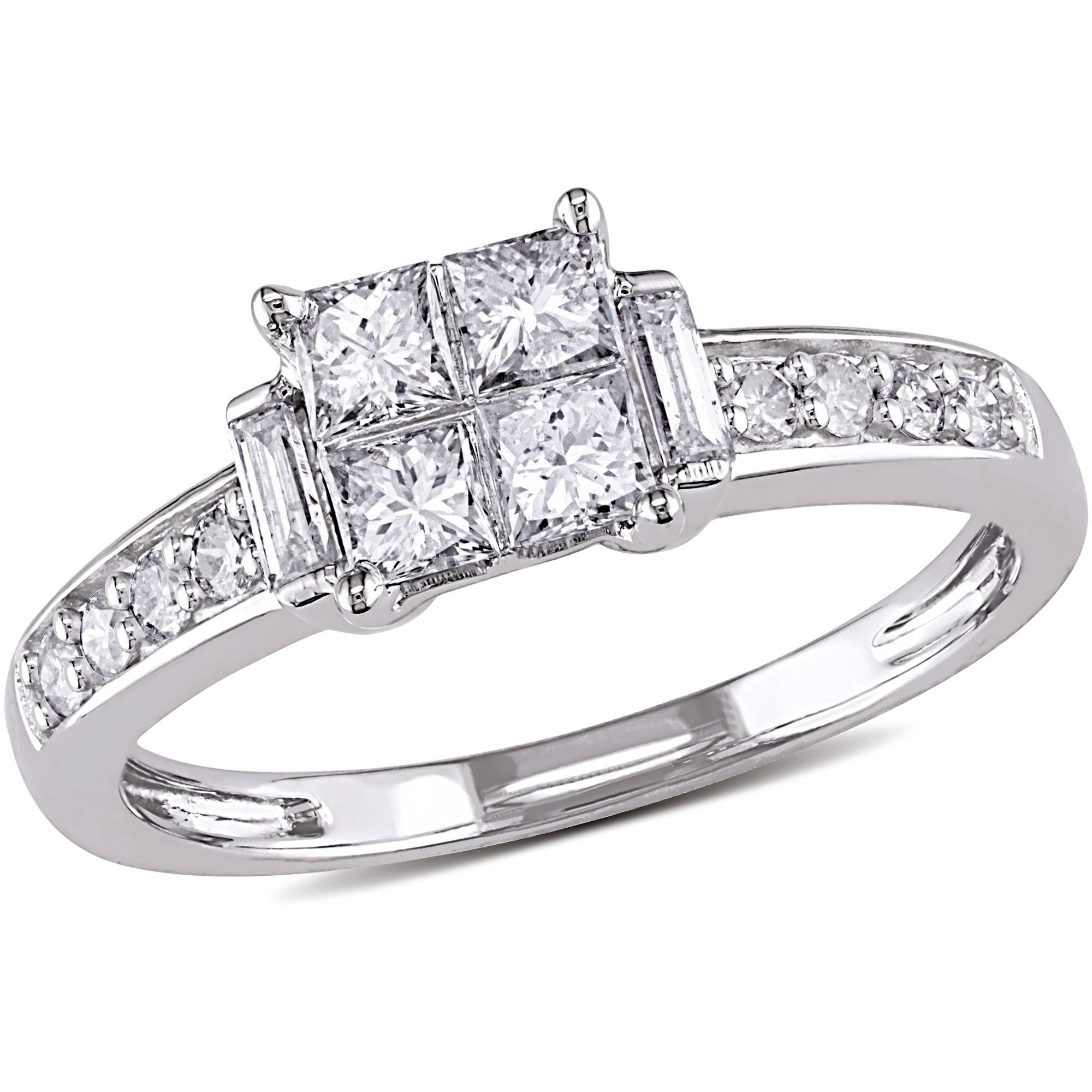 5/8 Carat T.W. Princess, Baguette and Round-Cut Diamond 14kt White Gold Engagement Ring