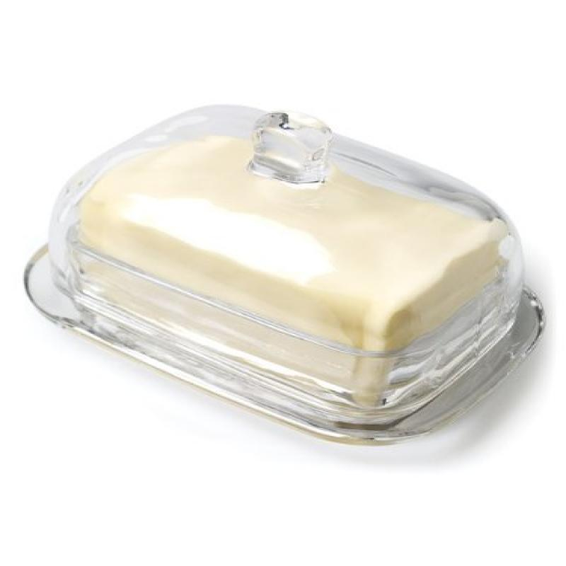 """7"""" Clear Glass Large Rectangular Covered Butter Dish"""