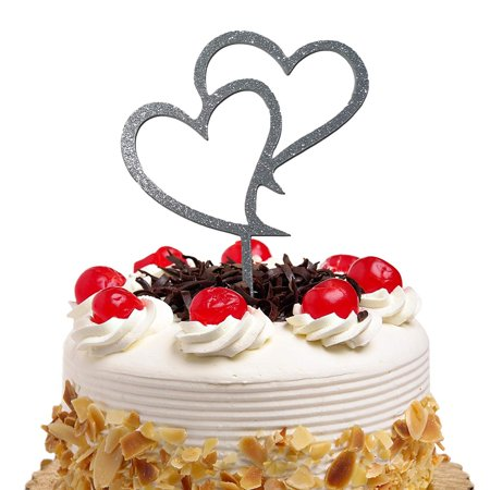 JennyGems Wedding Heart Cake Topper - Two Silver Hearts ...