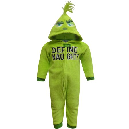 Dr Seuss Grinch Define Naughty Toddler Onesie Pajama - Halloween Grinch Cartoon
