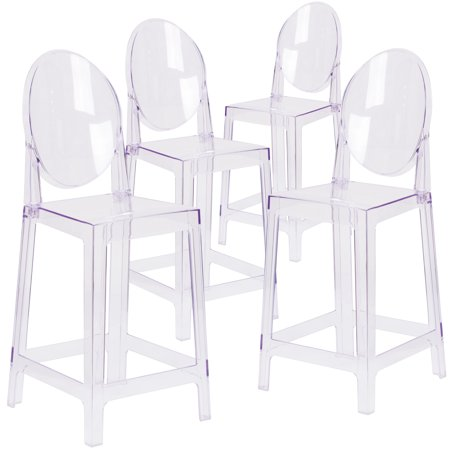 - Flash Furniture 4 Pk. Ghost Counter Stool in Transparent Crystal with Oval Back